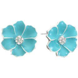 Gloria Vanderbilt Hibiscus Enamel Stud Earrings
