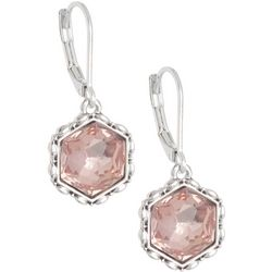 Napier Hexagonal Faceted Stone Silver Tone Drop Earrings