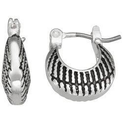 Napier Silver Tone Crescent Hoop Earrings