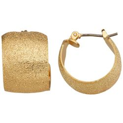 Napier Gold Glitter Wide Hoop Earrings