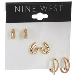 3-Pc. Gold Tone Post Back Earrings Set