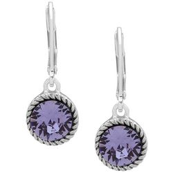 Gloria Vanderbilt Rope Edged Round Faceted Crystal Earrings