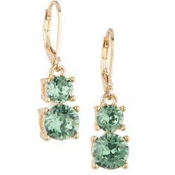 Gloria Vanderbilt Erinite Double Crystal Drop Earrings