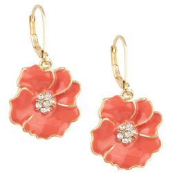 Hibiscus Enamel Drop Earrings