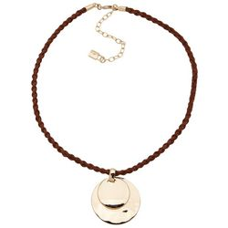 Chaps Braided Cord Circular Pendant Necklace