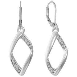 Gloria Vanderbilt Silver Tone Rhinestone Leverback Earrings