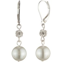 You're Invited Silver Tone Crystal Faux Pearl Drop Earrings