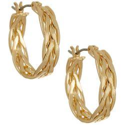 Napier Gold Tone Braided Hoop Earrings