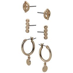 Chaps 3-pc. Goldtone Small Hoops,Round Linear &Stud Earrings