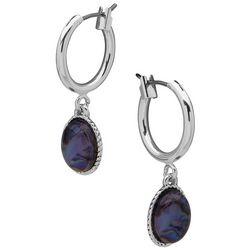 Chaps Silvertone Oval Stone Drop Small Hoop Earrings