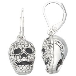 Napier Crystal Skull Leverback Earrings