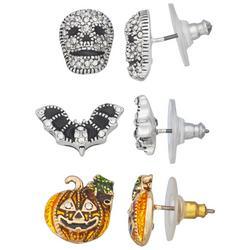 3-Pk. Halloween Studded Earrings