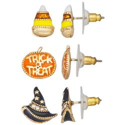 Napier 3-Pk. Halloween Themed Stud Earrings