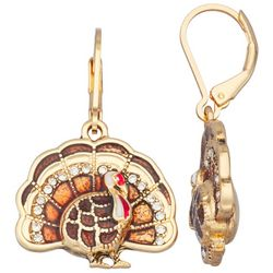 Napier Rhinestone Gold Tone Turkey Earrings
