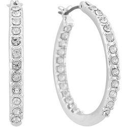 Gloria Vanderbilt Silver Tone Click Hoop Earrings