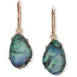 Chaps Gold Tone Abalone Stone Drop Earrings