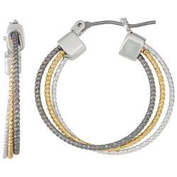 Nine West Tri-Tone Stacked Hoop Earrings