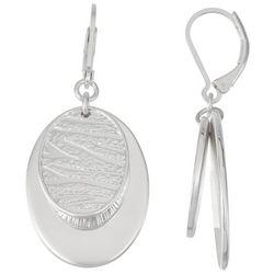 Nine West Silver Tone Textured Oval Earrings