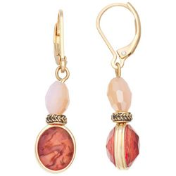 Napier Gold Tone Berry Faceted Oval Drop Earrings