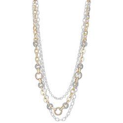 Napier Two-Tone Three Tier Chain Necklace