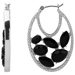 Gloria Vanderbilt Silver Tone Oval Teardrop Hoop Earrings