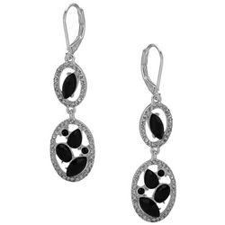 Gloria Vanderbilt Silver Tone Oval Dangle Earrings