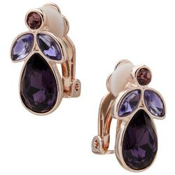 Gloria Vanderbilt Teardrop Rhinestone Clip-On Earrings