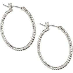 Napier Silver Tone Textured Hoop Earrings