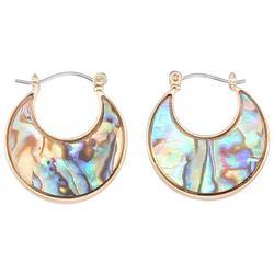 Gold Tone Abalone Shell Hoop Earrings