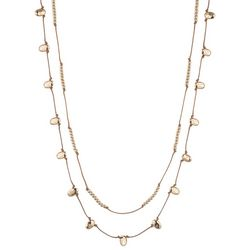 Chaps Double Row Knot Gold Tone Necklace
