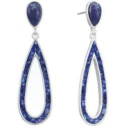 Chaps Silvertone Blue Hollow Teardrop Post Earrings
