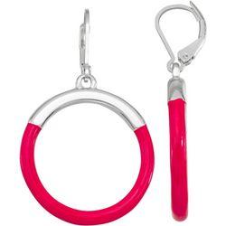 Napier Silvertone Hoop Enamel Dangle Earrings