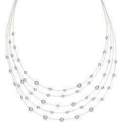Napier Silver Tone Multi Row Beaded Necklace