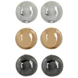 Napier 3-pc. Tri Tone Ball Stud Earring Set