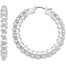Napier Silver Tone Bead Chain Hoop Earrings