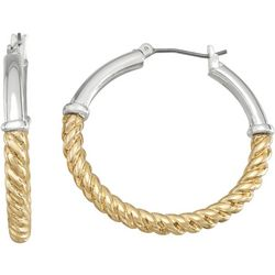 Napier Two Tone Twist Hoop Earrings