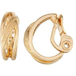 Napier Gold Tone Textured Criss Cross Clip Earring