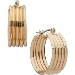 Napier Large Gold Tone Post Top Hoop Earrings