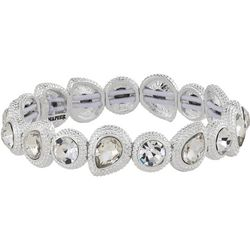 Napier Crystal Teardrop Link Stretch Bracelet