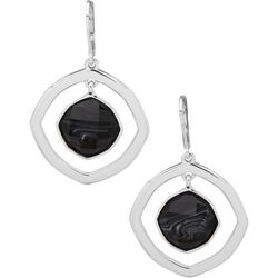 Nine West Orbital Square Faceted Stone Earrings