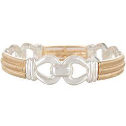 Napier Two Tone Metal Link Stretch Bracelet