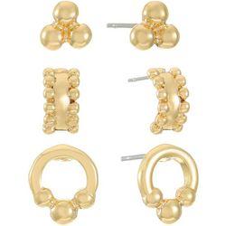 Chaps 3-Pc. Gold Tone Stud Earrings