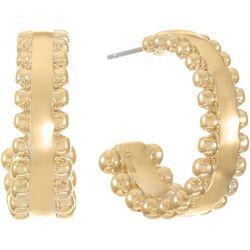 Chaps Gold Tone Textured C-Hoop Earrings