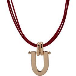 Chaps  Goldtone Doorknocker Three Strand Cord Necklace