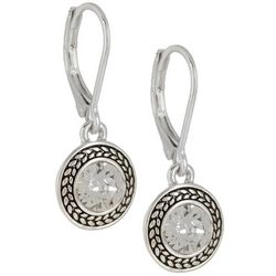 Napier Clear Stones Silver Tone Drop Earrings