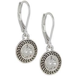 Clear Stones Silver Tone Drop Earrings