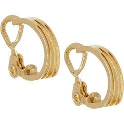 Napier Gold Tone Multi Row C Hoop Clip On Earrings