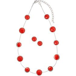Napier Multi-Faceted Stone Disc Earring & Necklace Set