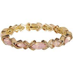 Napier Pink Marquis X Ribbon Link Stretch Bracelet
