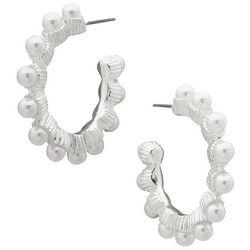 You're Invited Silver Tone Pearl Inlay Hoop Earrings